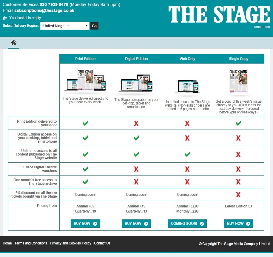 eCommerce site launched for The Stage